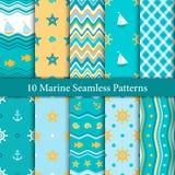 Dziesięć morskich bezszwowych wzorów w pomarańczowych i błękitnych colours Fotografia Royalty Free
