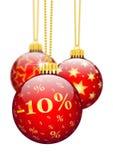 Dziesięć procentów, 10% Mas - ceny redukci Czerwoni Bożenarodzeniowi Baubles - Fotografia Stock