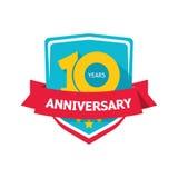 Dziesięć rok rocznicowego majcheru wektoru, kolor 10th partyjna etykietka Obrazy Stock