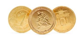 Dziesięć rosyjskich rubli monety odizolowywającej Fotografia Stock