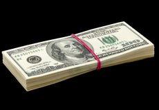 Dziesięciów tysięcy dolary w paczce Zdjęcia Stock