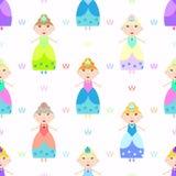 Dziewczęca bezszwowa deseniowa magia, zabawka Royalty Ilustracja