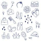 Dziewczyn akcesoriów chalky doodles Fotografia Royalty Free