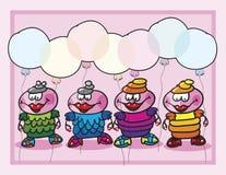 Dziewczyn balonów tło Obrazy Royalty Free
