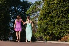 Dziewczyn Chodzący Daleko od Wpólnie Opowiadać Zdjęcia Stock