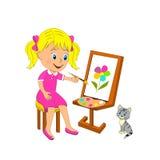 Dziewczyn farb kwiat na sztaludze Fotografia Stock