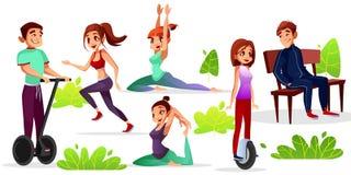 Dziewczyn lub chłopiec aktywność w parkowej wektorowej ilustraci ilustracji