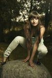 dziewczyn piękni lasowi potomstwa Fotografia Stock