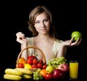 dziewczyn piękni owocowi warzywa Zdjęcia Royalty Free