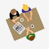 Dziewczyn plotkować Dziewczyny komunikują Dziewczyny rozmowa Śniadanie, lunch ilustracji
