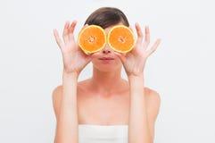 dziewczyn pomarańcze dwa Zdjęcia Stock