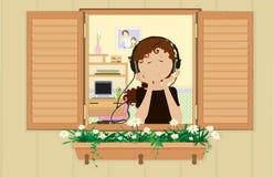 dziewczyn potomstwa słuchający muzyczni ilustracja wektor
