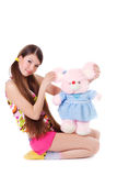 dziewczyn potomstwa uroczy zabawkarscy obraz stock