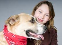 dziewczyn psi potomstwa Obrazy Royalty Free