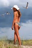 dziewczyn seagulls Fotografia Royalty Free