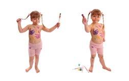 dziewczyn szczotkarskie fotografie dwa Zdjęcie Stock