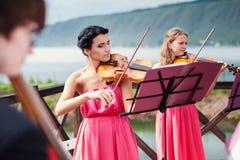 Dziewczyn sztuki skrzypcowe Obraz Royalty Free