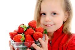 dziewczyn truskawki Obrazy Royalty Free