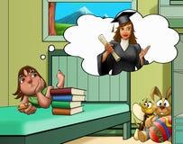 dziewczyna łóżkowy pokój Fotografia Royalty Free