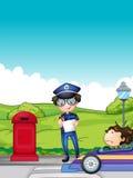 Dziewczyna łapiąca ruchu drogowego egzekutorem Obraz Stock