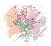 Dziewczyna ściska serce miłość royalty ilustracja