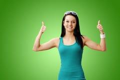 dziewczyna śliczni kciuki dwa Zdjęcie Royalty Free