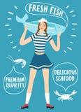 Dziewczyna żeglarz trzyma dużej ryba royalty ilustracja