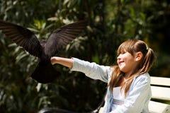 dziewczyna żywieniowy gołąb Zdjęcie Royalty Free