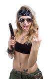 dziewczyna agresywny pistolet Fotografia Stock