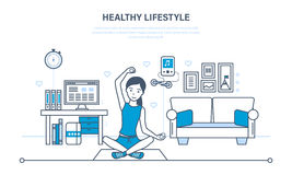 Dziewczyna angażuje w gimnastykach i joga w pokoju royalty ilustracja