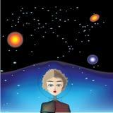 Dziewczyna astronauta w przestrzeni Fotografia Royalty Free
