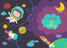 Dziewczyna astronauta z jej jednorożec royalty ilustracja