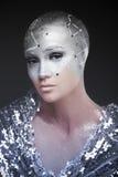 Dziewczyna astronom Kosmologiczny astrolog makeup Obrazy Royalty Free
