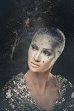 Dziewczyna astronom Wszechświat makeup Obrazy Royalty Free