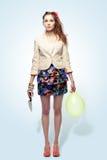 dziewczyna balonowy nóż Obraz Stock