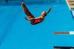 Dziewczyna basenu Nurkowi mistrzostwa Obraz Stock