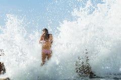 Dziewczyna basenu Pływowy ocean Zdjęcia Stock