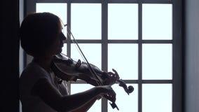 Dziewczyna bawić się skrzypce przeciw tłu okno sylwetka zbiory