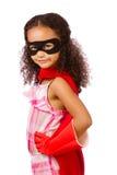 Dziewczyna bawić się super bohatera zdjęcia royalty free