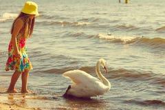 Dziewczyna bawić się z dorosłym łabędź zdjęcia stock
