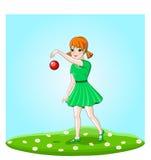 Dziewczyna bawić się z piłką Zdjęcia Royalty Free
