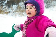 dziewczyna bawić się zima Zdjęcie Stock