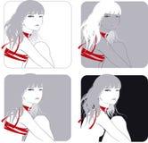 dziewczyna bieżący włosy royalty ilustracja