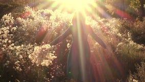 Dziewczyna bieg przy jesieni polem przez fluff kwitnie zbiory