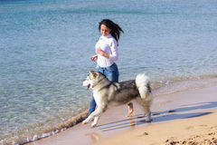 Dziewczyna bieg psia plaża Zdjęcia Royalty Free