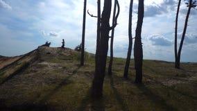 Dziewczyna biega wierzchołek wzgórze zdjęcie wideo