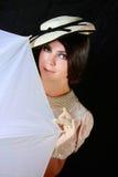 dziewczyna biel retro stylowy parasolowy Obrazy Royalty Free