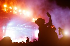 Dziewczyna bierze fotografię koncert przy festiwalem Fotografia Stock