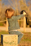 Dziewczyna bierze jaźń portret Zdjęcia Stock