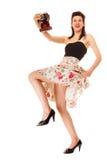 Dziewczyna bierze jaźń portret od rocznik kamery Zdjęcie Royalty Free